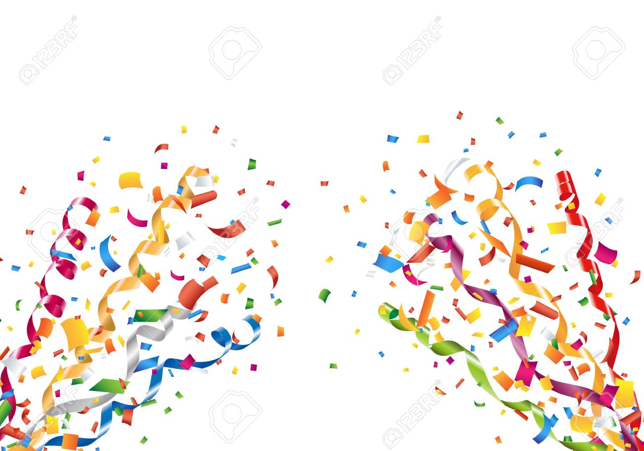 exploding party confetti and streamers royalty free cliparts