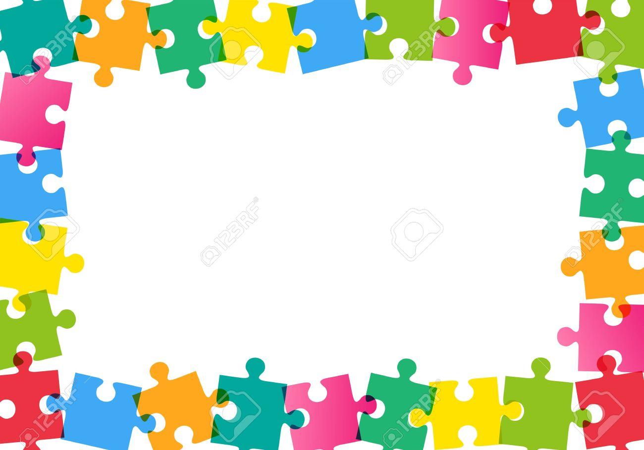 Bunte Puzzle-Rahmen Auf Weißem Hintergrund Lizenzfrei Nutzbare ...