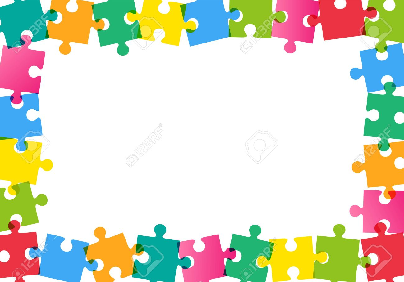 Colorful Puzzle Frame On White Background Royalty Free Cliparts ...