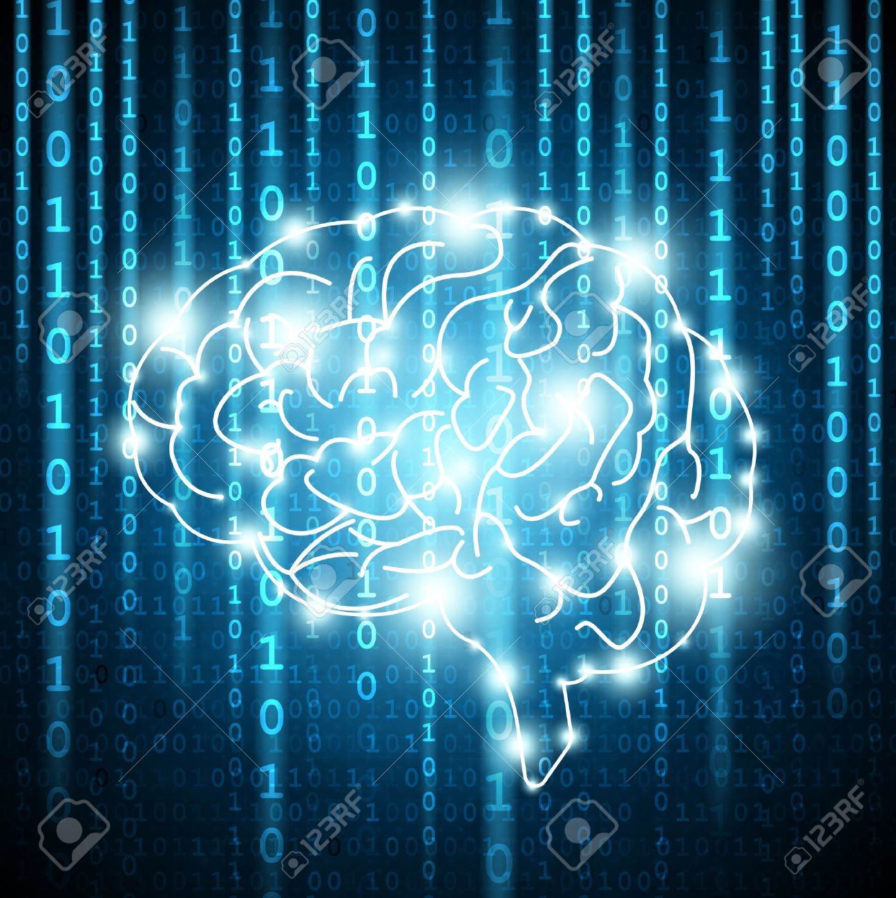 Background with matrix numbers and brain Vector - 64942620