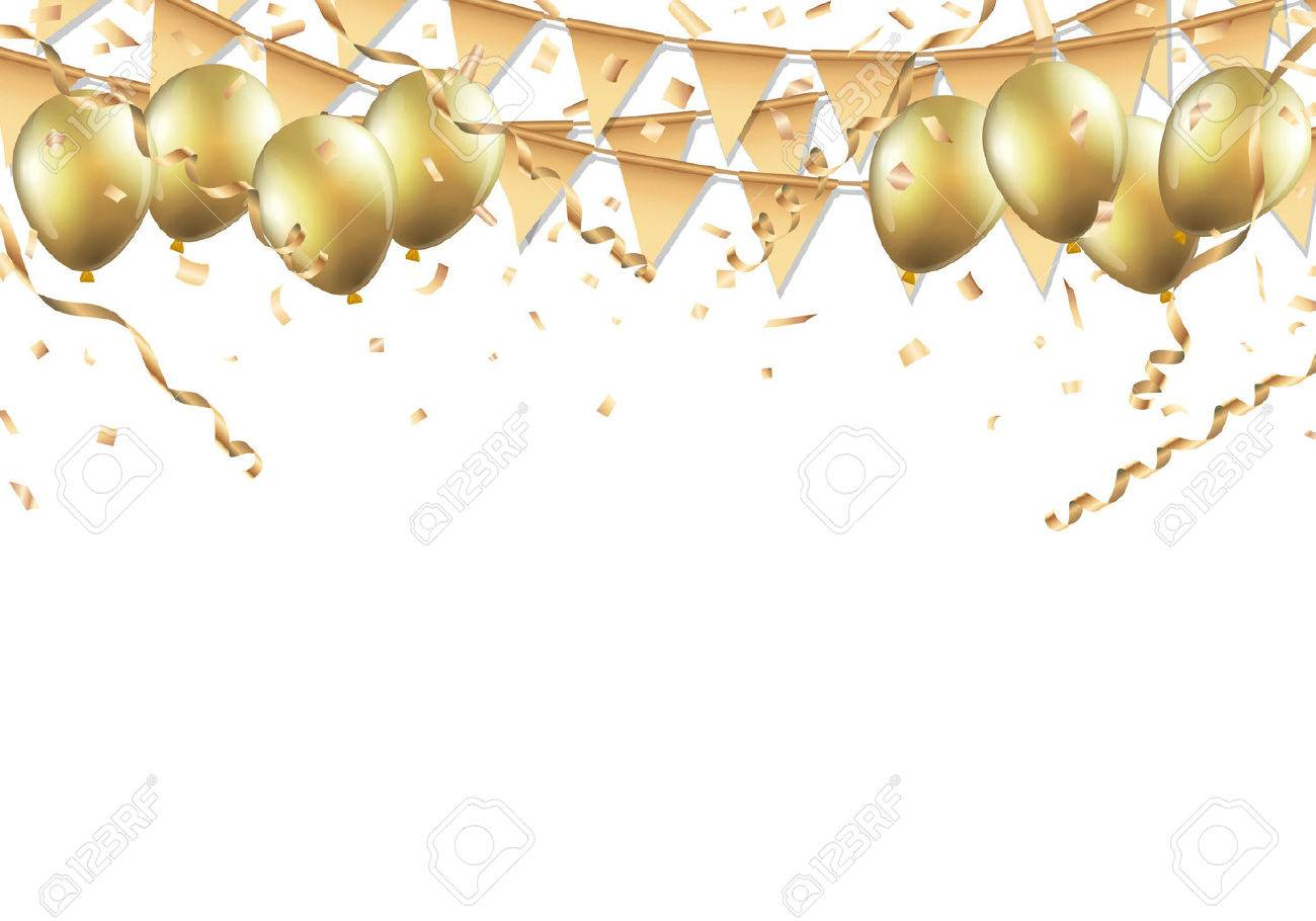 Gold balloons, confetti and streamers on white background. - 67583727