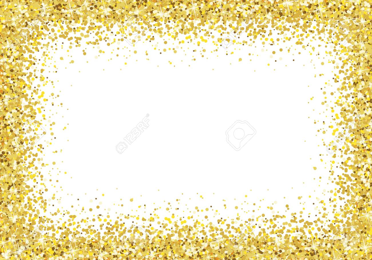 Gold Glitter Frame On White Background Vector Royalty Free Cliparts ...
