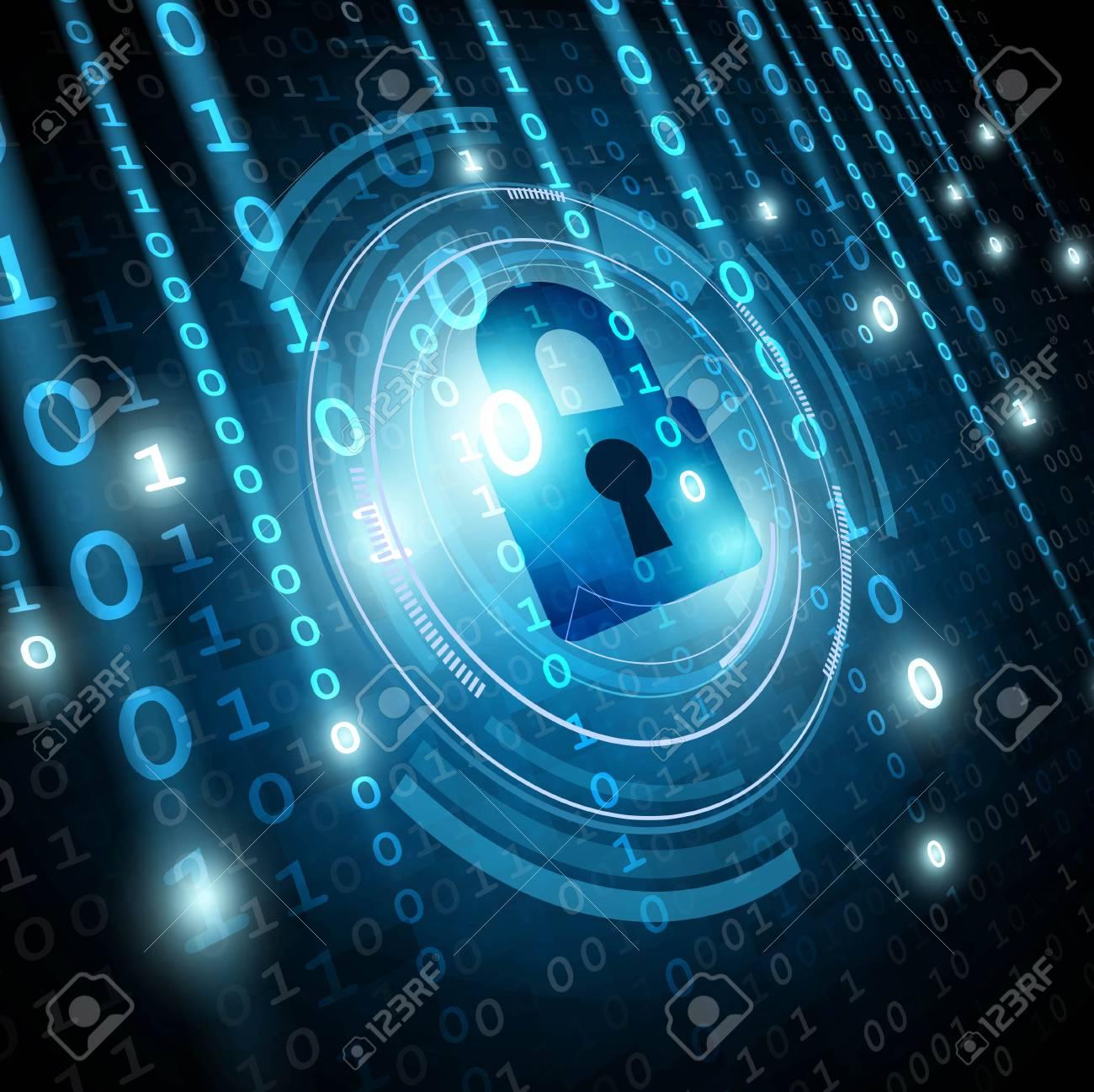 Padlock on matrix binary background. Network security concept. Vector illustration - 91053553