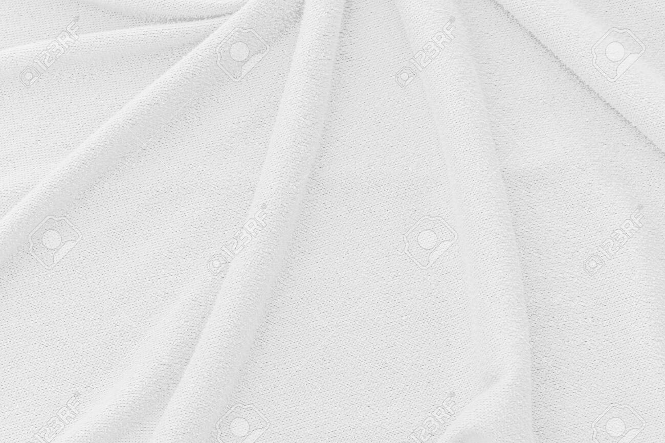 White fabric texture background. Abstract wave canvas surface. - 142284276