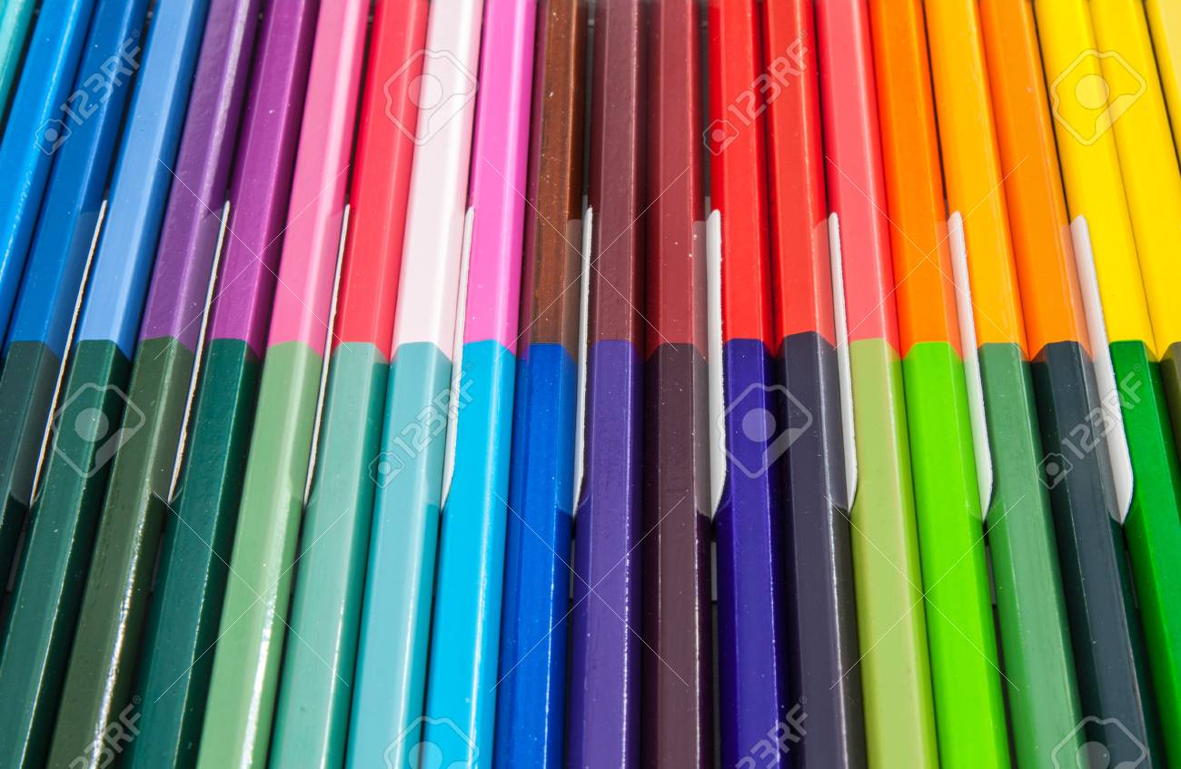 A lot of coloured pencils which Arranged in a row Stock Photo - 16403755