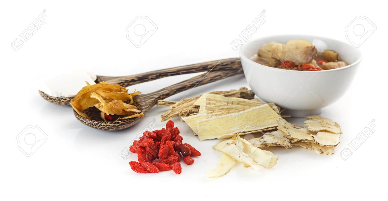 Chinese food - Clear soup with chinese herbal medicine on white background - 85756758