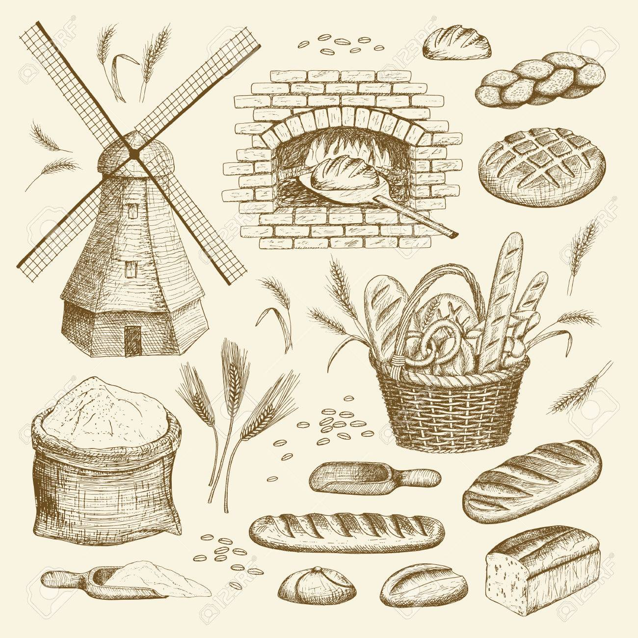 Vector hand drawn bakery illustration collection. Windmill, oven, bread, basket, flour, wheat. - 61952804