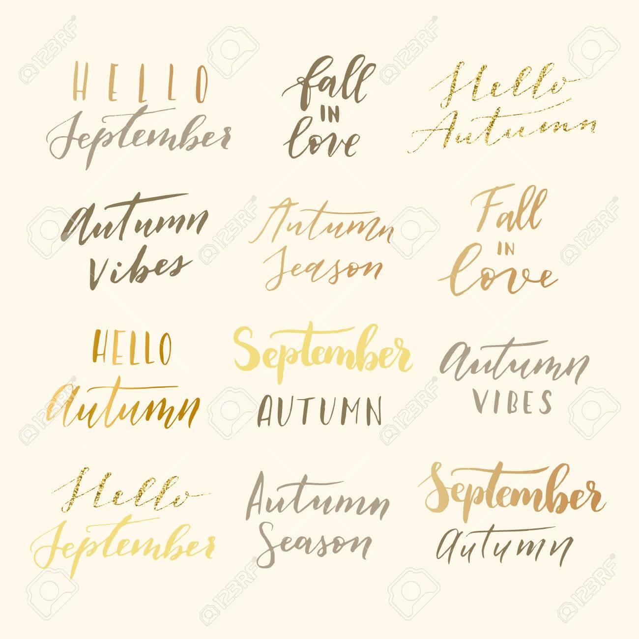 Vector Hand Drawn Hello September Hallo Autumn Autumn Vibes