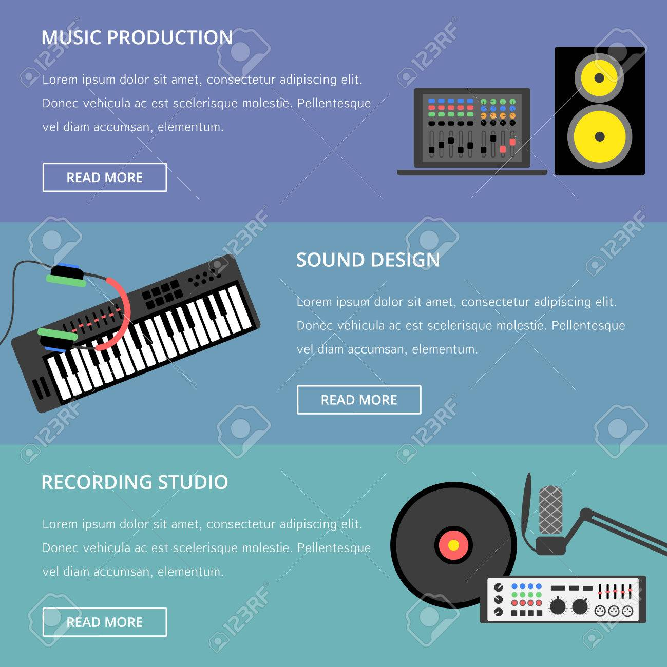 Vector music production template, layout  Speaker, laptop, headphones,