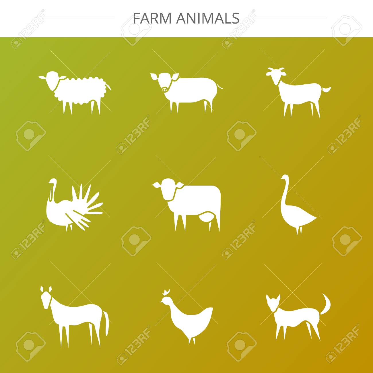 Vector Farm Animal Modern Flat Icons Goose Goat Cow Dog Chicken