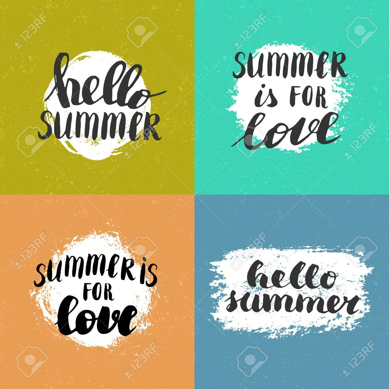 Vector Hand Written Quotes Hello Summer Summer Is For Love