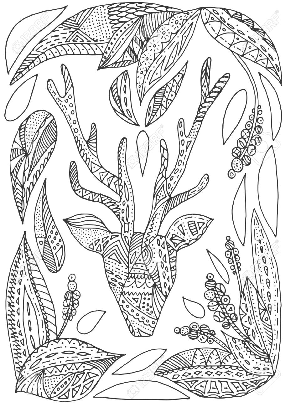 Vector Hand Drawn Deer And Leaves Illustration For Adult Coloring ...