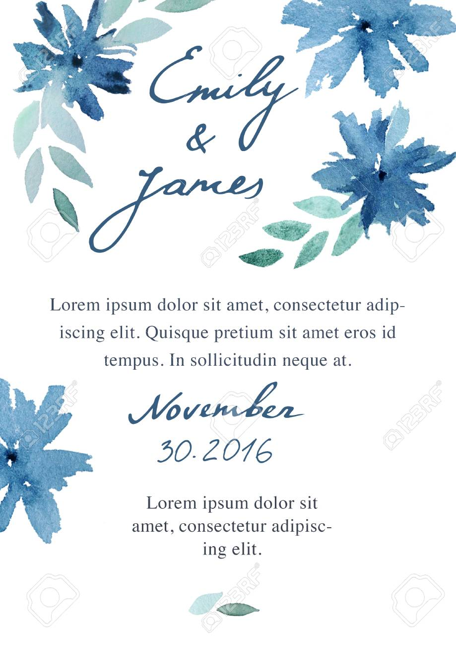 Watercolor painted floral wedding invitation template. Blue flowers.