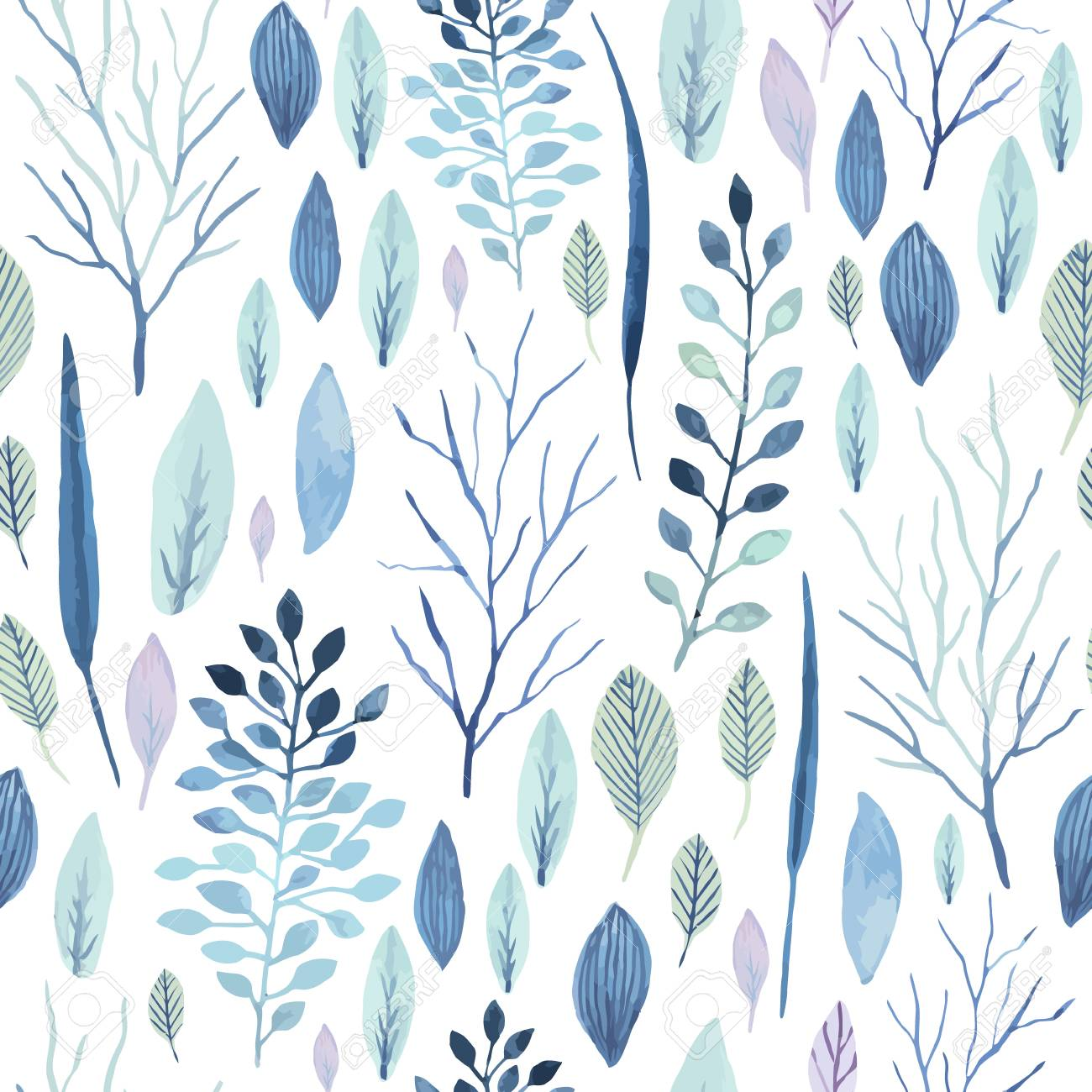 Vector Cute Watercolor Seamless Flower Pattern Big Set Of