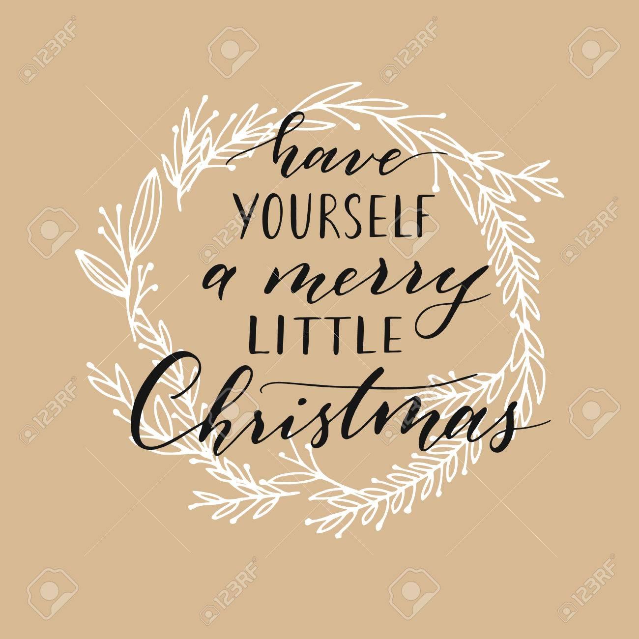 Vector Hand Written Christmas Greeting. Elegant Lettering. Winter ...