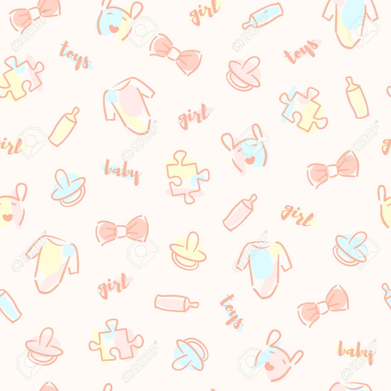 d3451da4c0d9 Vector Cute Baby Girl Seamless Pattern. Elegant Baby Background ...