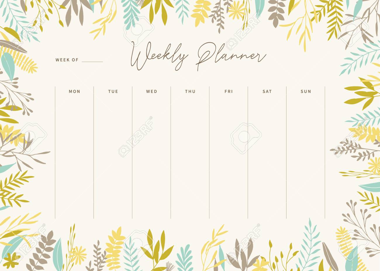picture regarding Cute Weekly Planners identify Adorable vector weekly planner template. Stylish floral pastel tone..