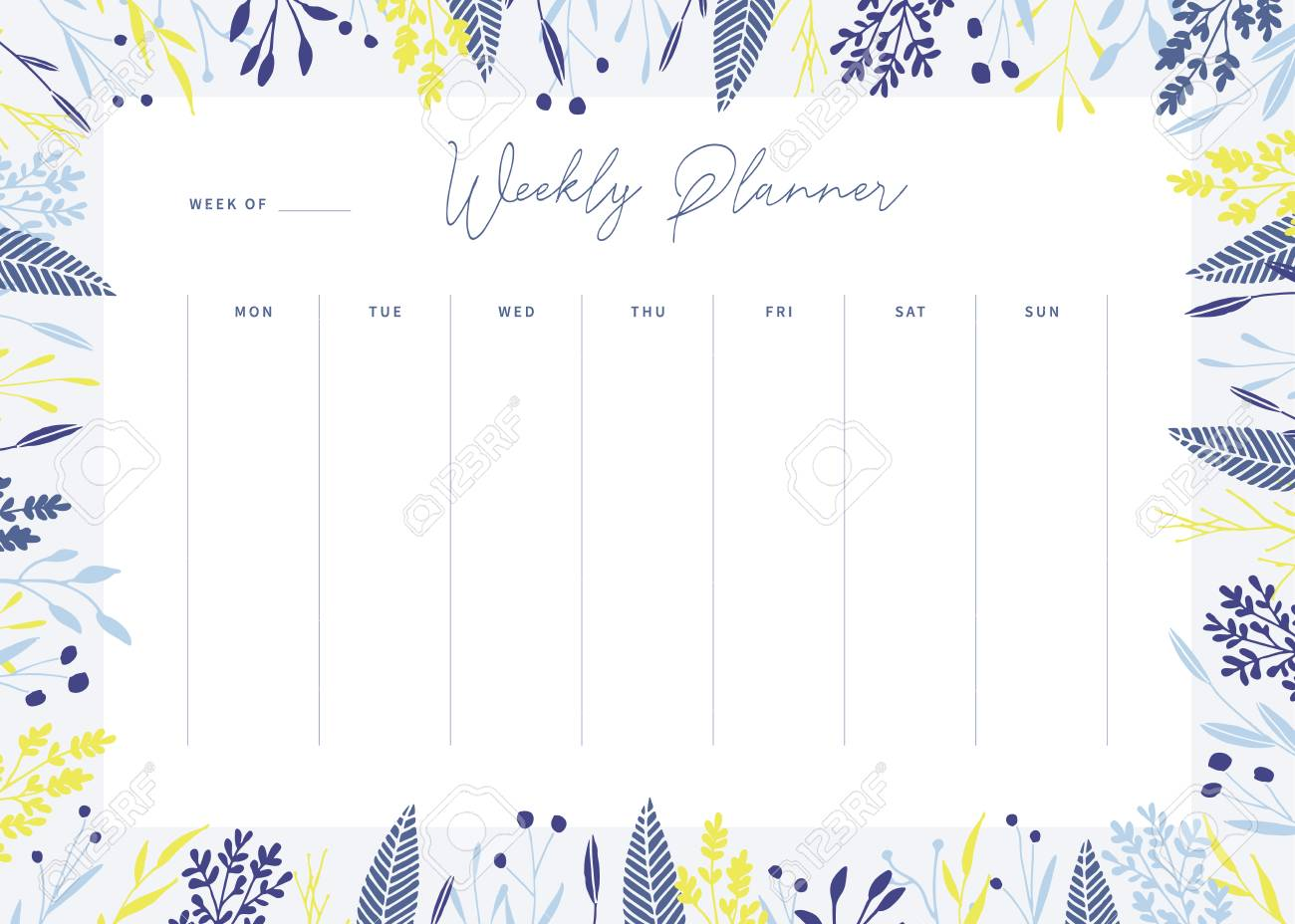 graphic regarding Weekly Printable Planner titled Lovable vector weekly planner template. Sophisticated floral pastel tone..