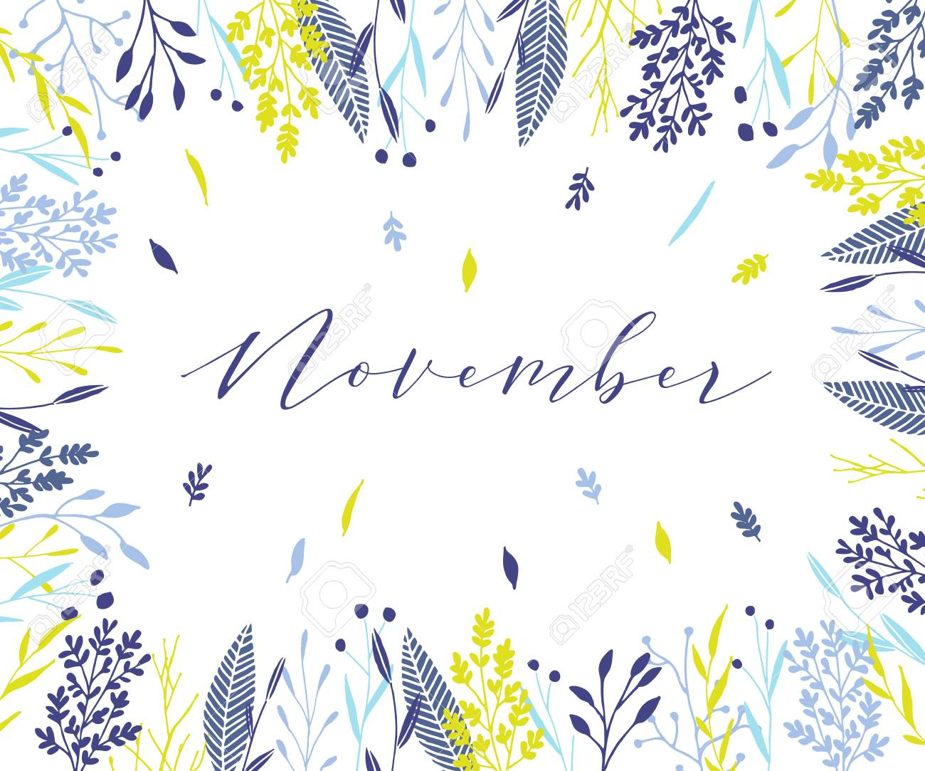 Plant Frame Composition With Calligraphic Word November Elegant