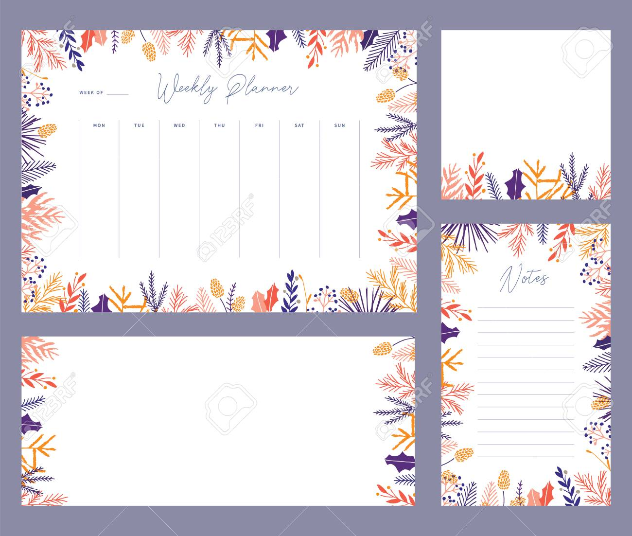 photograph about Weekly Planner Sheet named Lovely vector wintertime weekly planner templates. Classy Xmas..