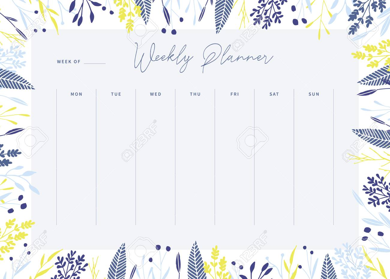 photograph about Cute Weekly Planner Printable identified as Lovely vector weekly planner template. Sophisticated floral pastel tone..