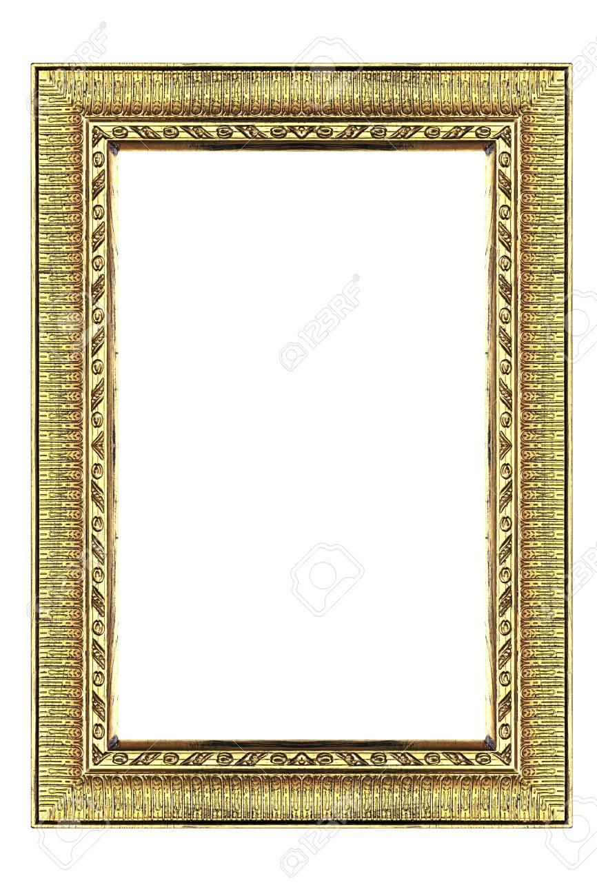 Goldener Bilderrahmen Isoliert Auf Weißem Hintergrund. Lizenzfreie ...