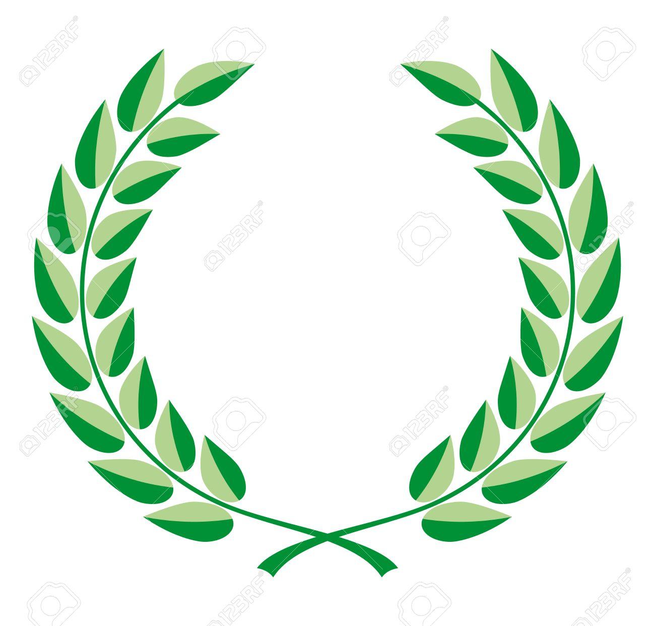 Vettoriale Corona Di Alloro Vettore In Due Tonalità Di Verde Image
