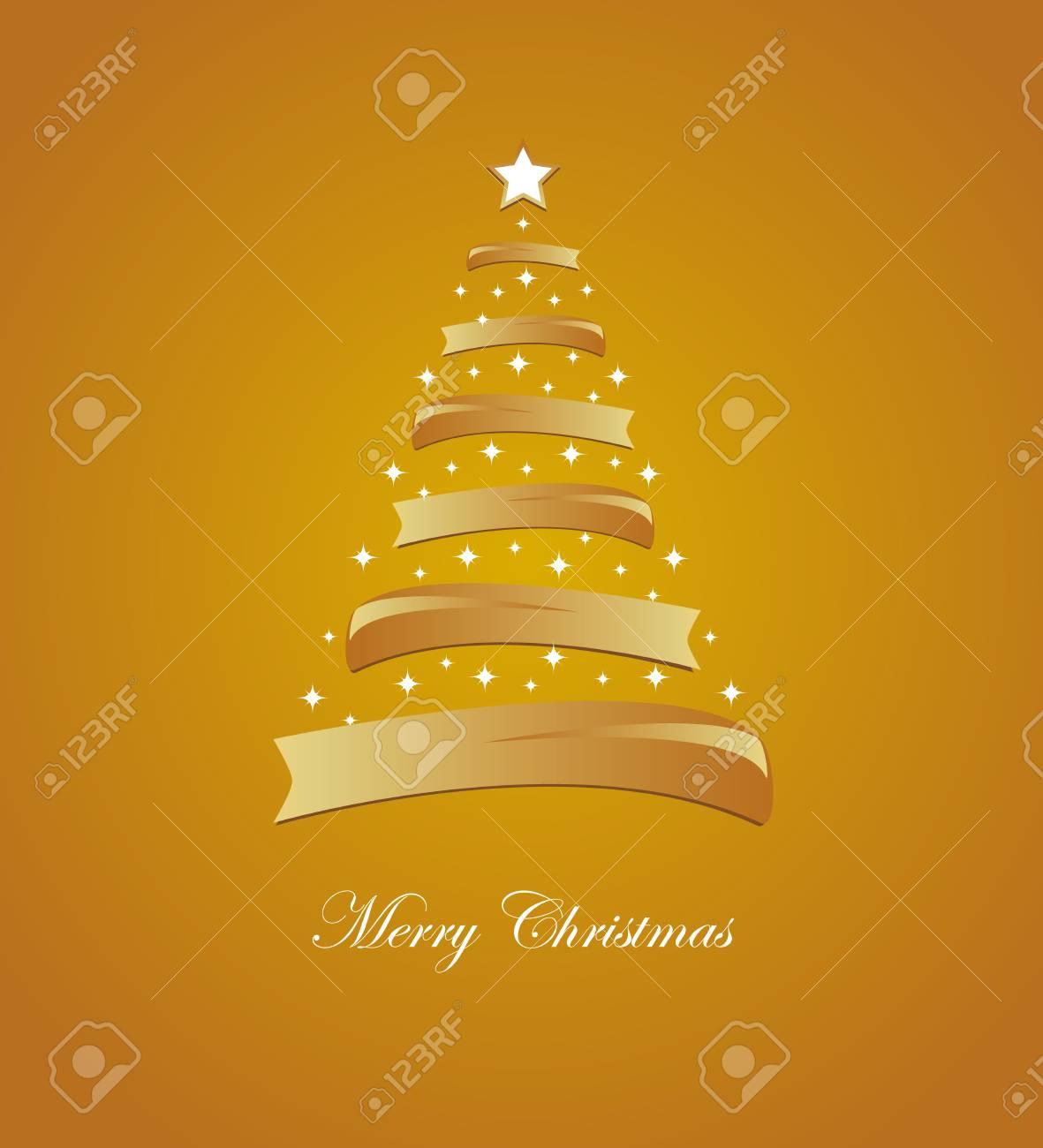 66caae29827 Foto de archivo - Tarjeta de Navidad con el árbol y las estrellas de oro  blanco y estilizada