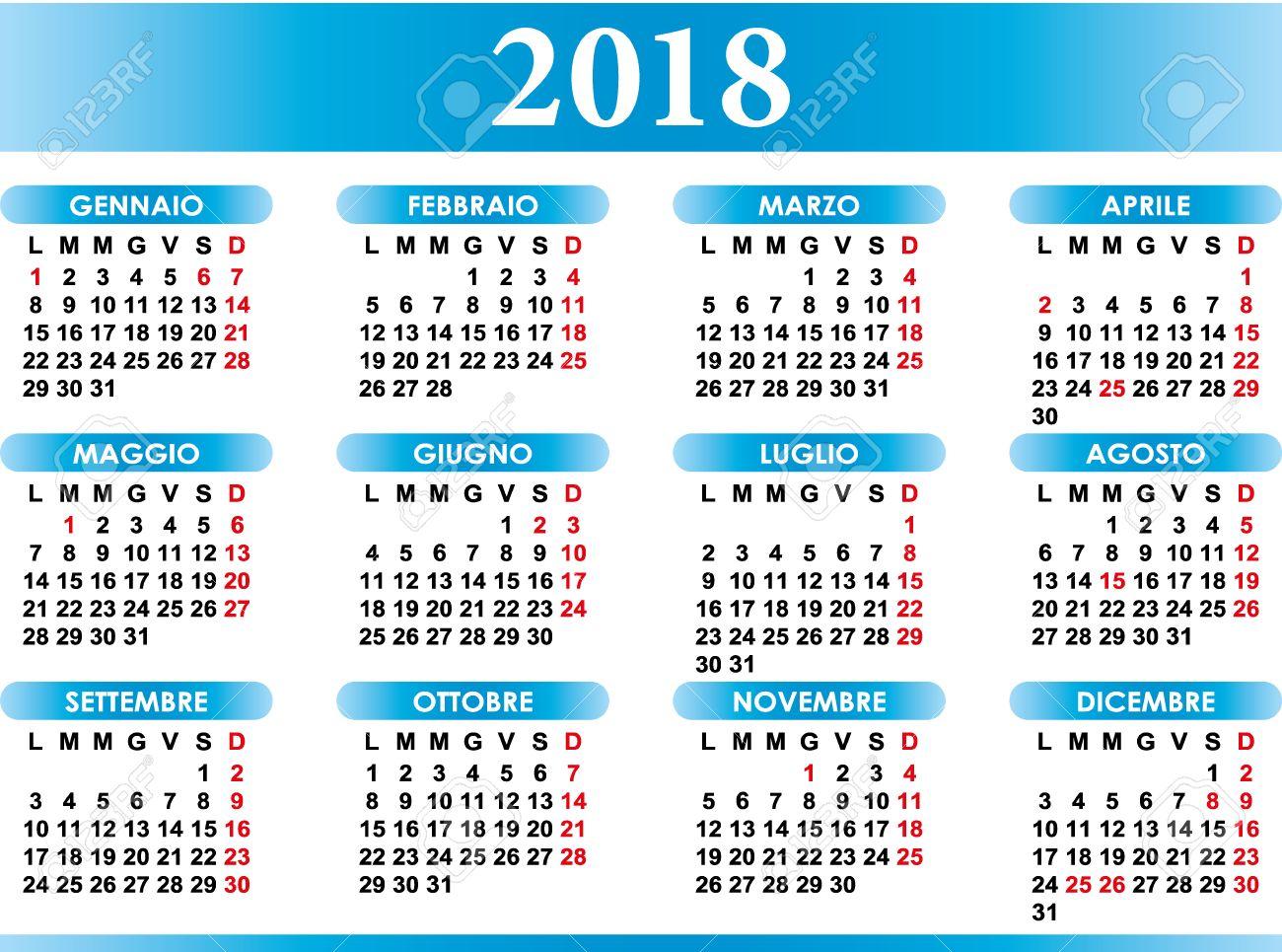 Calendario Con Festivita.Calendario Italiano 2018 Con Festivita