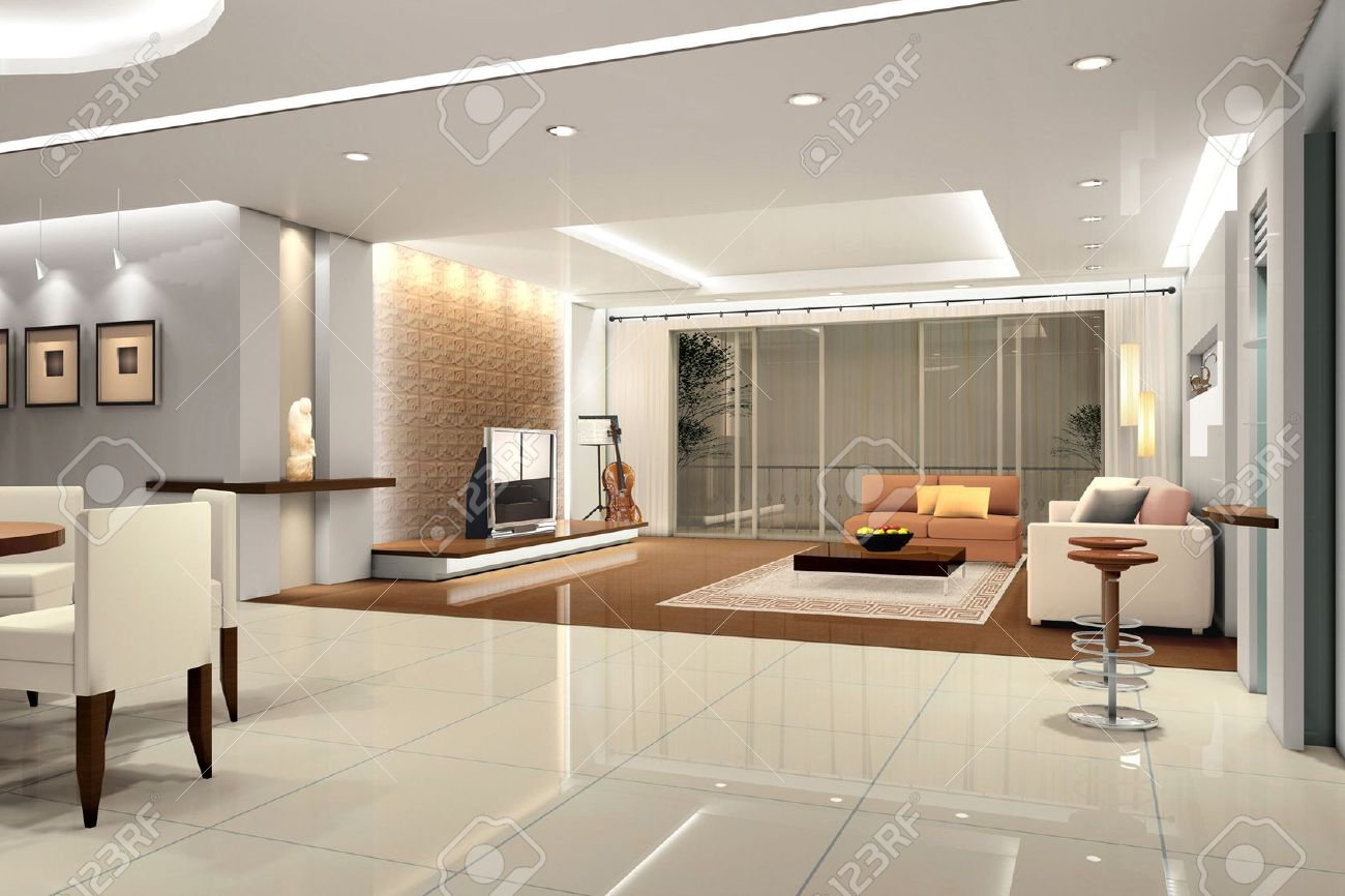 Modern Design Interior Modern Design Interior Of Livingroom3D Render Stock Photo