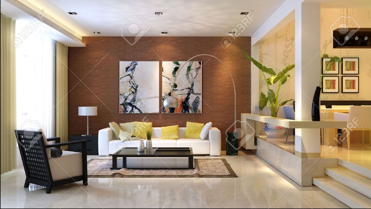 Beautiful Modern Interior. 3D Render. Living Room Stock Photo   7610724