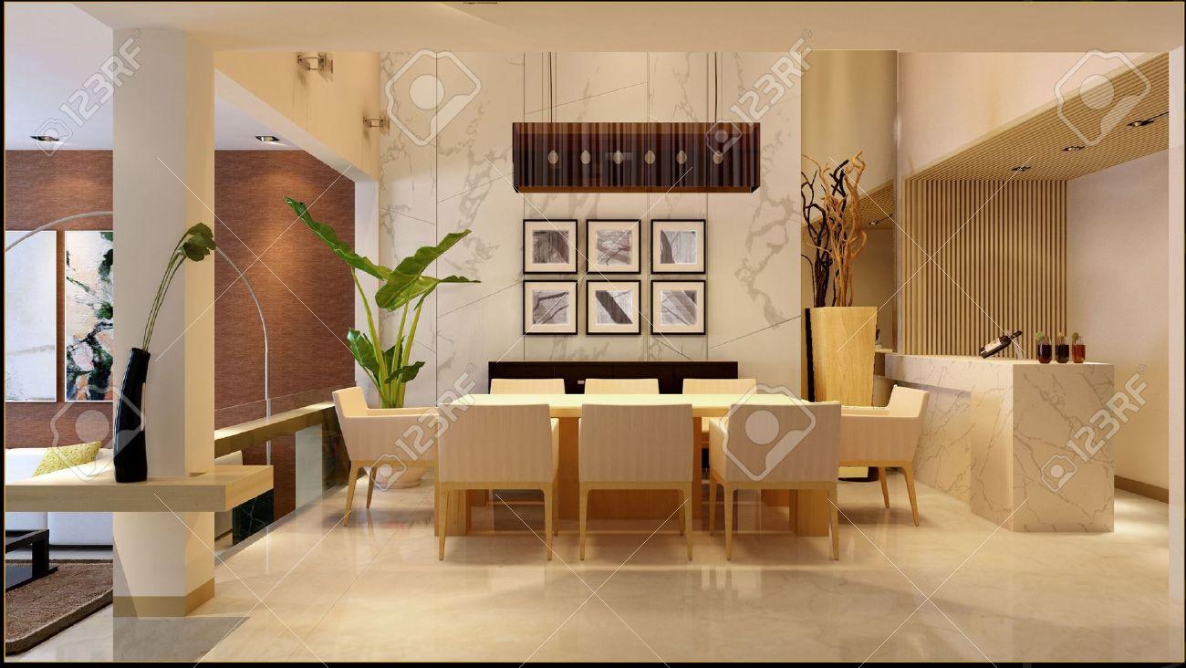 Elegant Modern Interior. 3D Render. Living Room Stock Photo   7610722