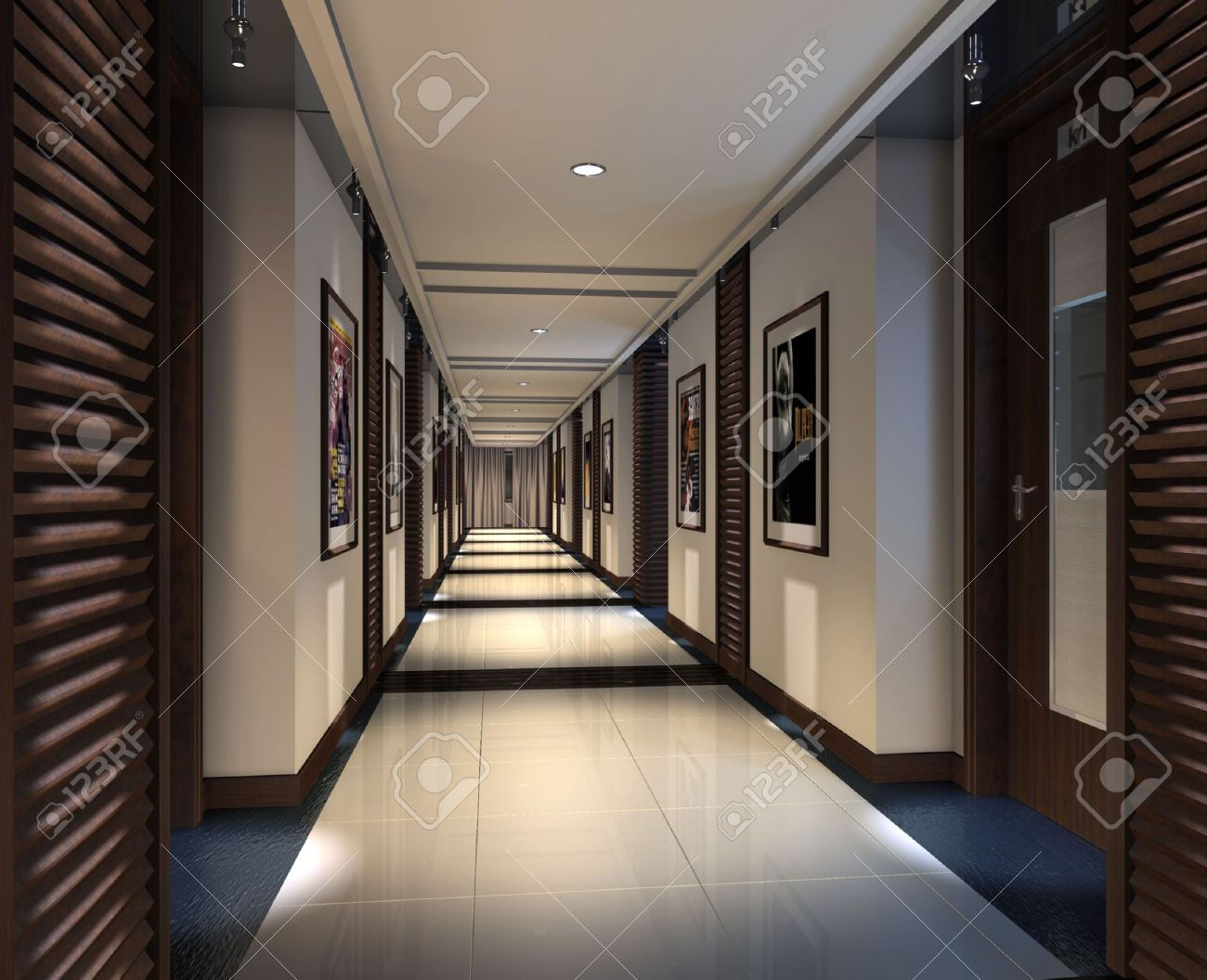 modern corridor interior image (3d rendering) stock photo, picture