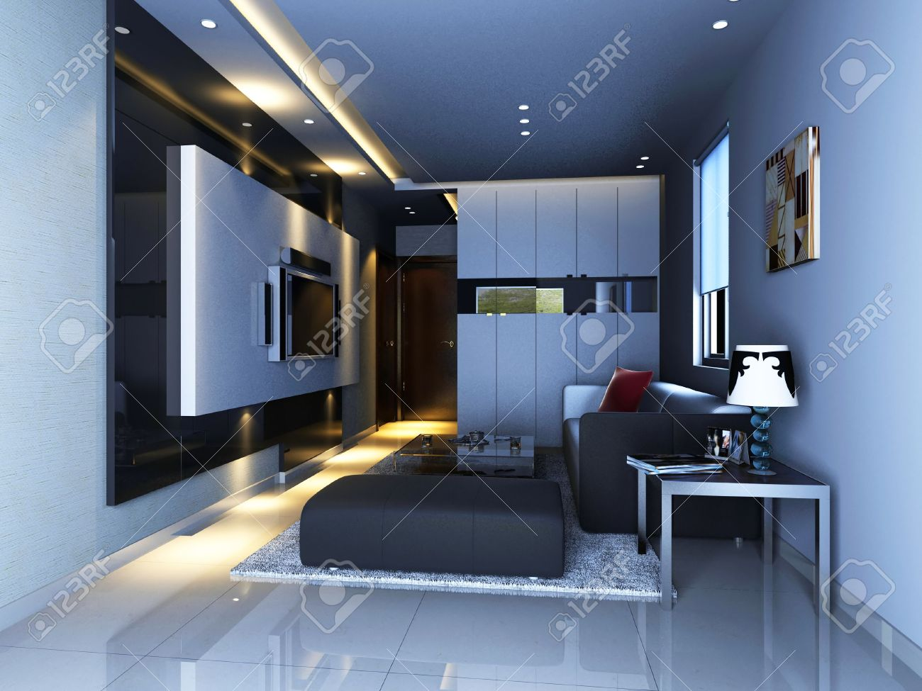 Interior Fashionable Living-room 3D Rendering Stock Photo, Picture ...