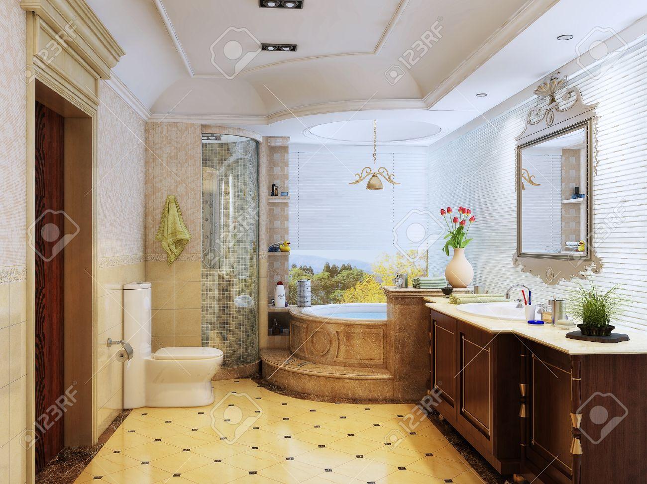 archivio fotografico rendering 3d degli interni bagno in stile del marocco