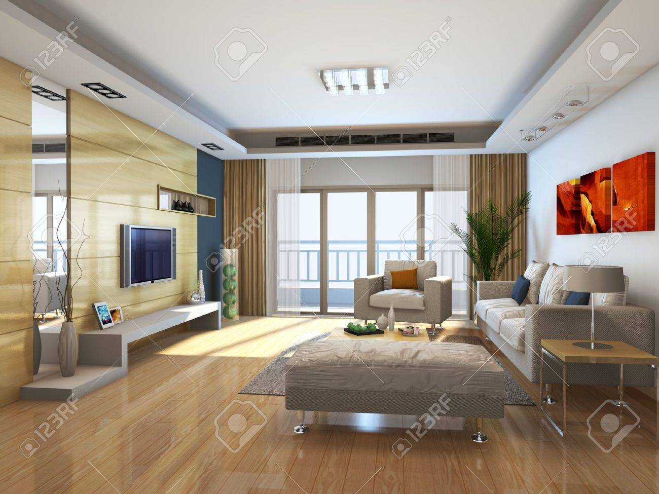 Interior Fashionable Living-room Rendering Stock Photo, Picture And ...