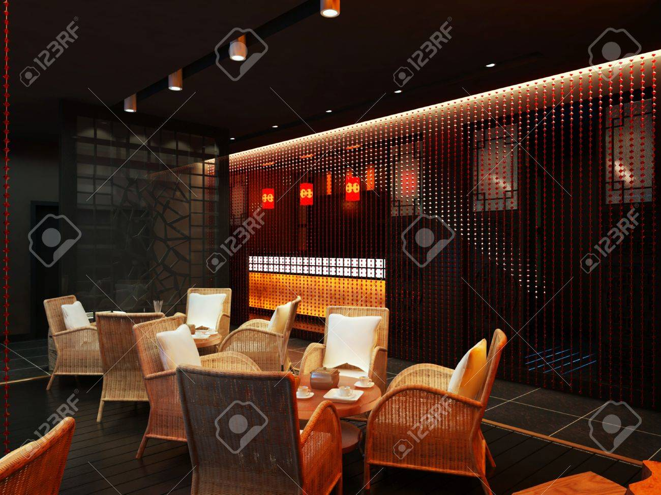 The tea bar with rattan chairs and table Stock Photo - 9165256
