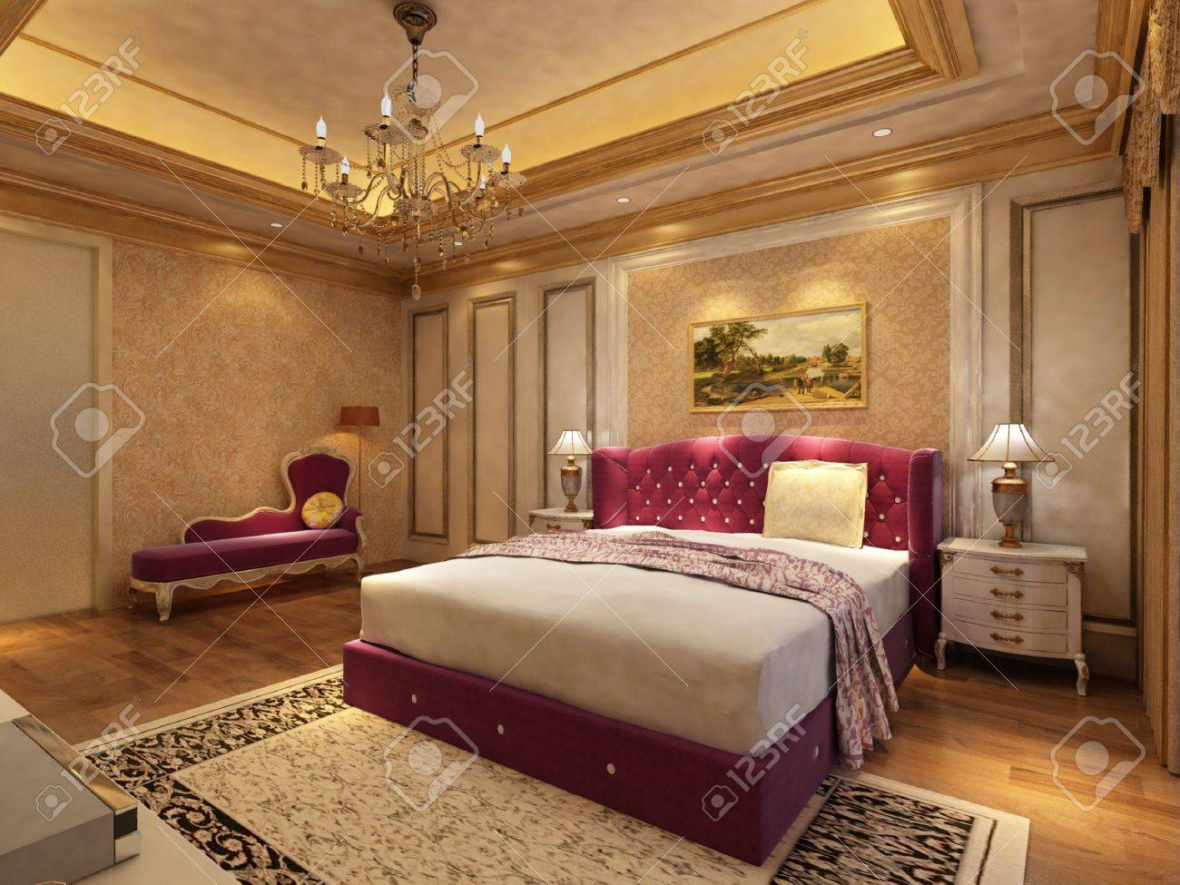 rendering of home interior focused on bed room Stock Photo - 9324210