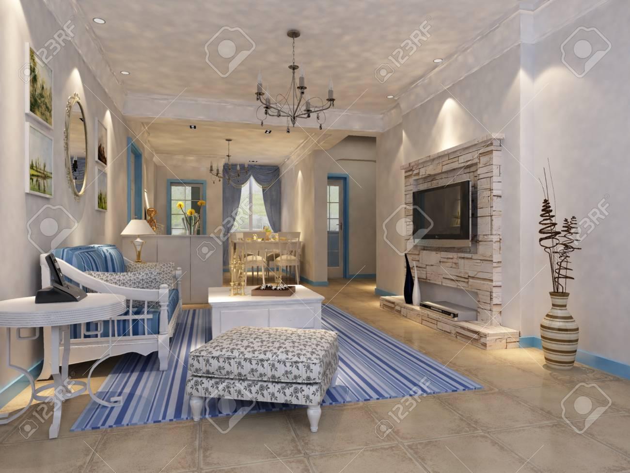 Interior fashionable living-room rendering Stock Photo - 9318405