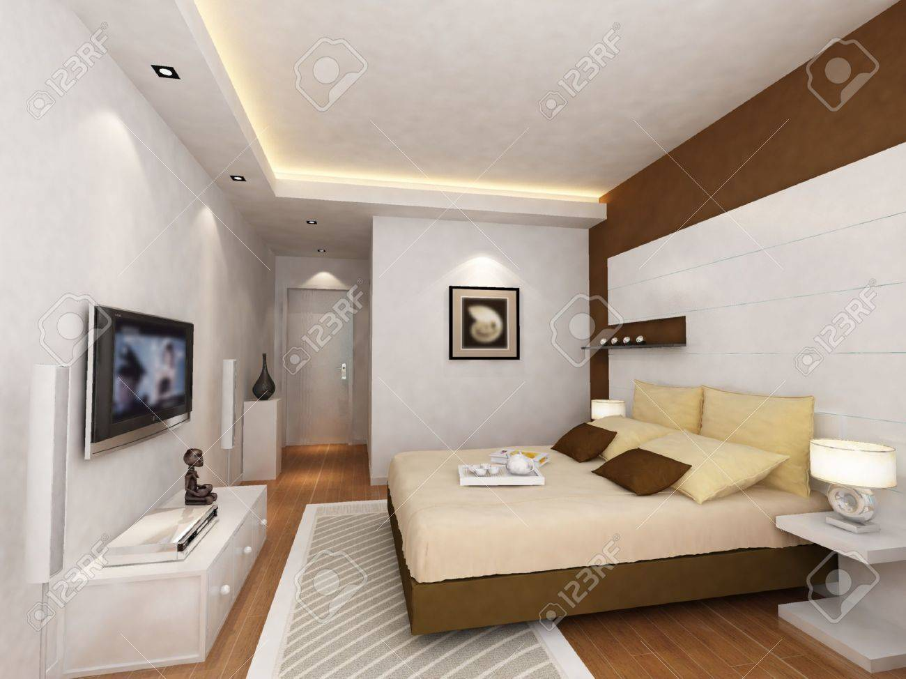 Home interior bedroom - Rendering Of Home Interior Focused On Bed Room Stock Photo 9353989