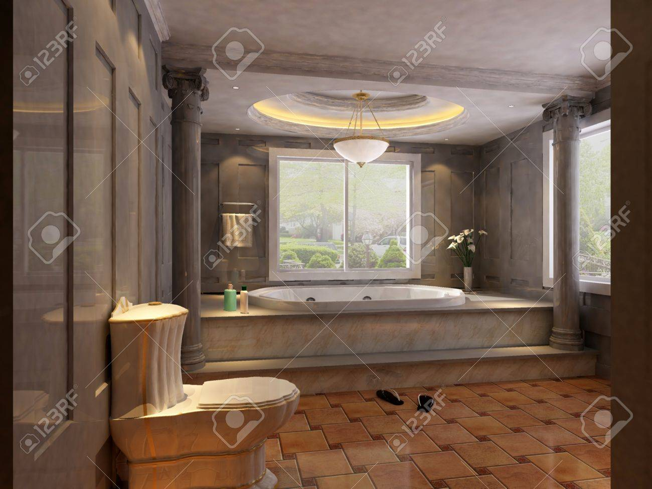 rendering of the modern bathroom interior Stock Photo - 9382595