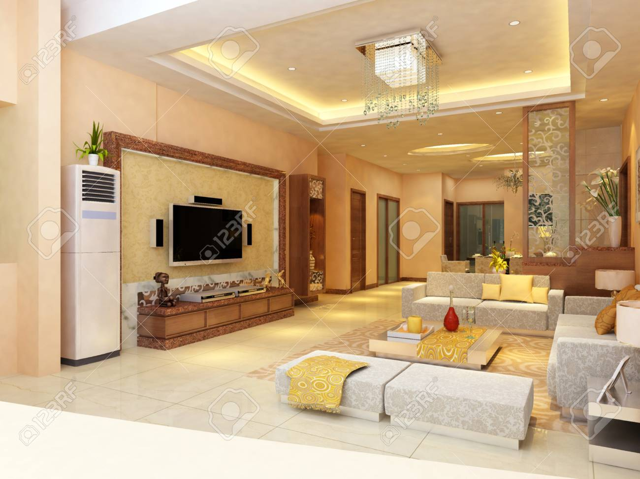 Interior fashionable living-room rendering Stock Photo - 9501458