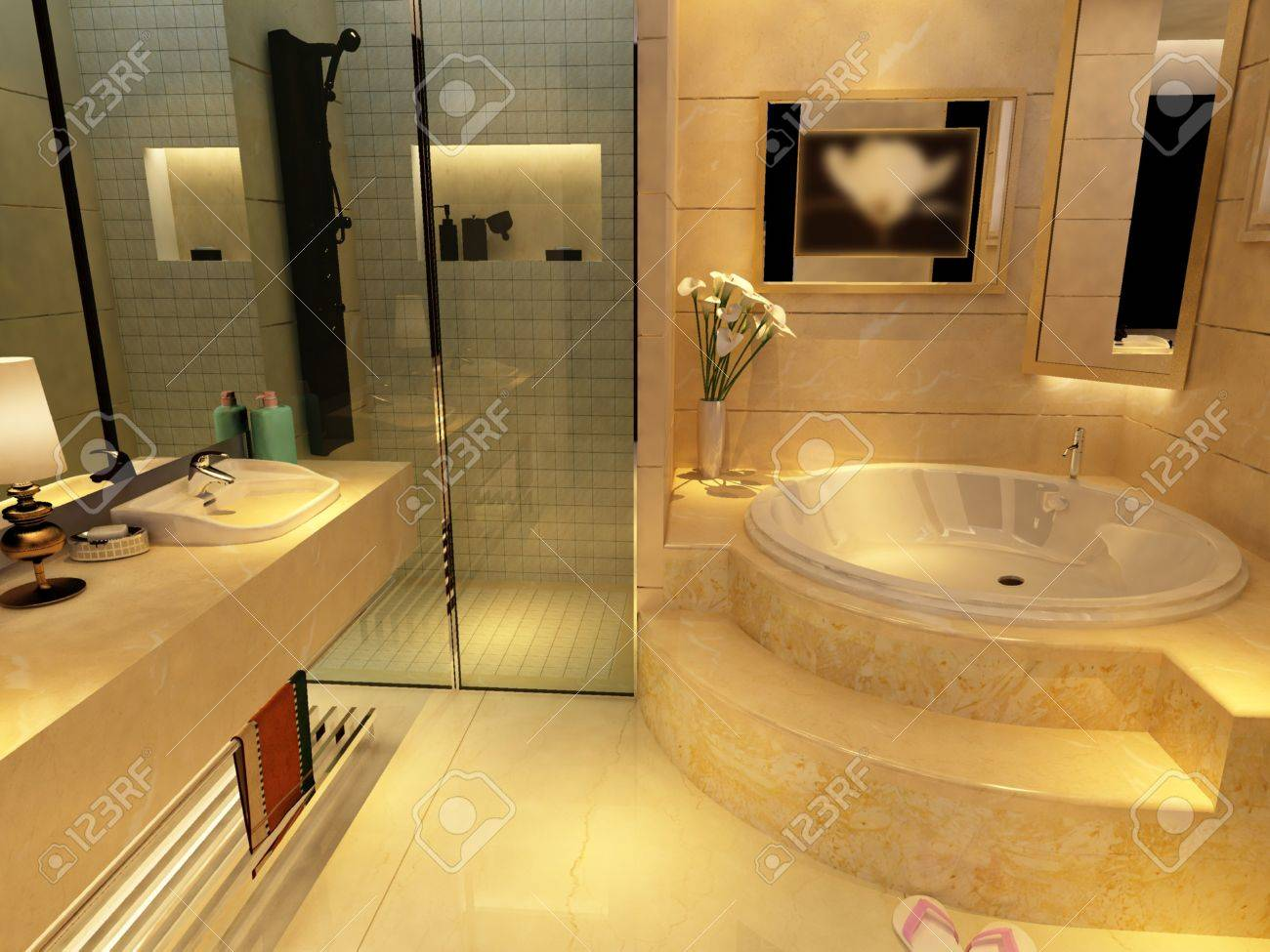 rendering of the modern bathroom interior Stock Photo - 9535042