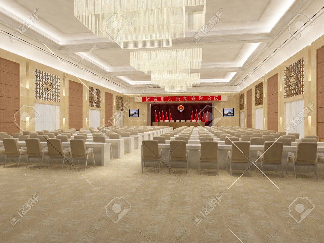 The Computer Generated Image Of The Modern Conference Hall Stock Photo Picture And Royalty Free Image Image 9642351