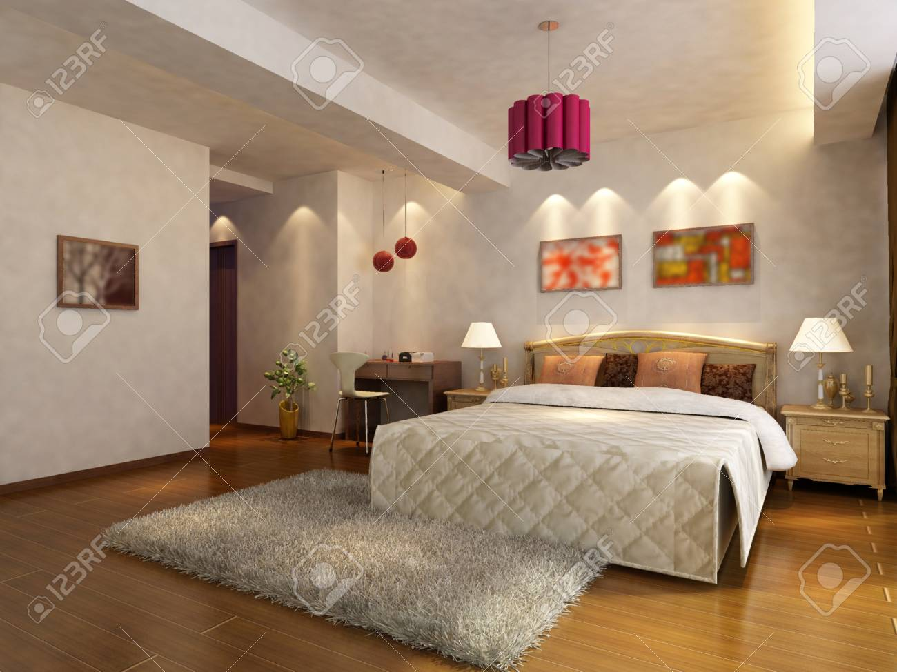 rendering of home interior focused on bed room Stock Photo - 9535072