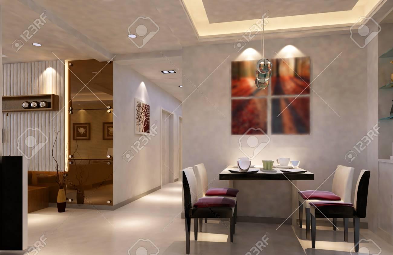 Interior fashionable living-room rendering Stock Photo - 9535047