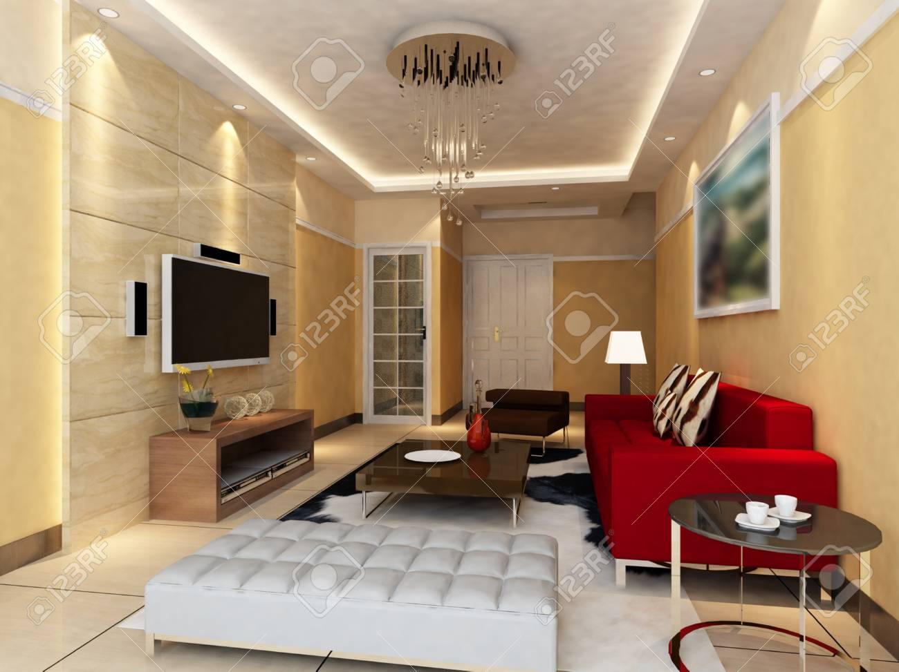 Interior fashionable living-room rendering Stock Photo - 9535066