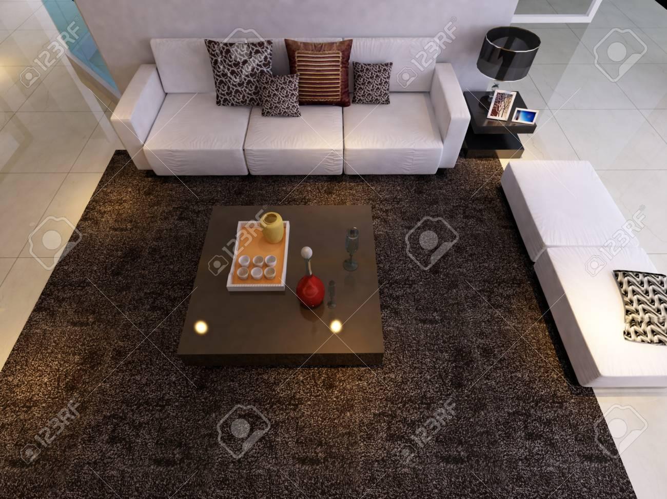 Interior fashionable living-room rendering Stock Photo - 9535112