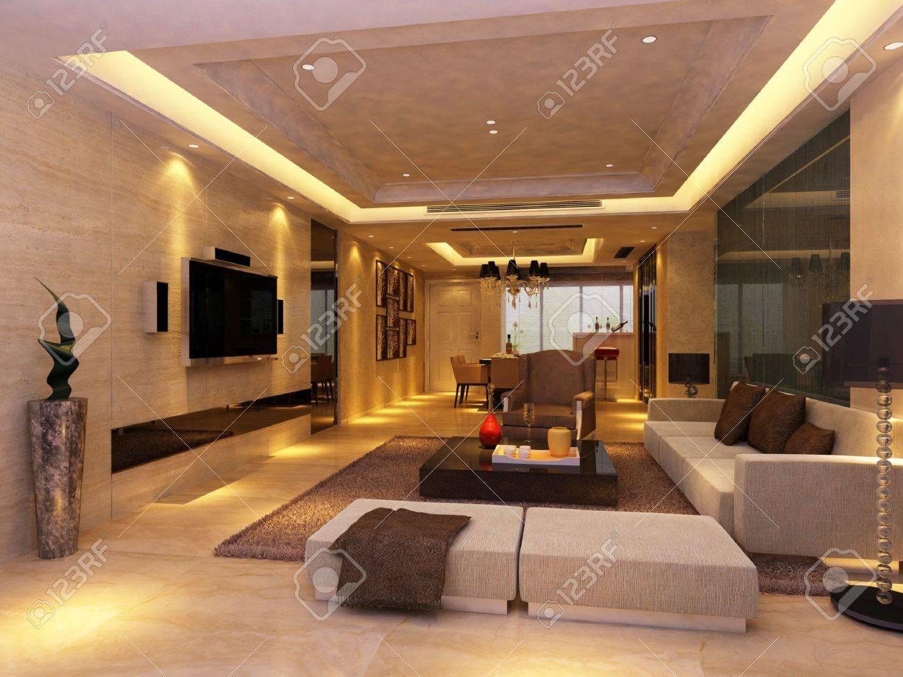 Modern Design Interior Of Living Room. Render Stock Photo   9713108