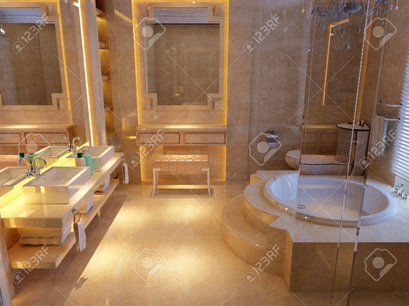 rendering of the modern bathroom interior Stock Photo - 9713180